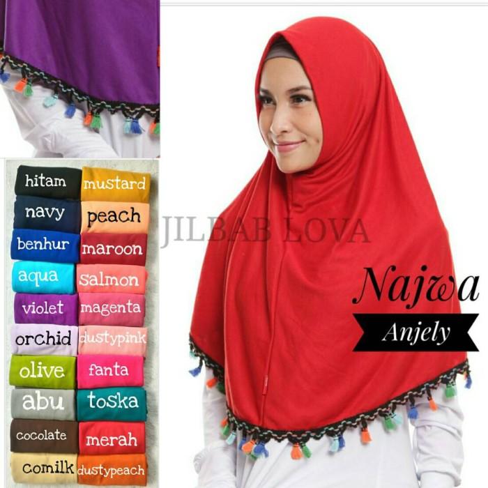 harga Jilbab kerudung hijab bergo syria najwa instan syar`i tassel anjely Tokopedia.com