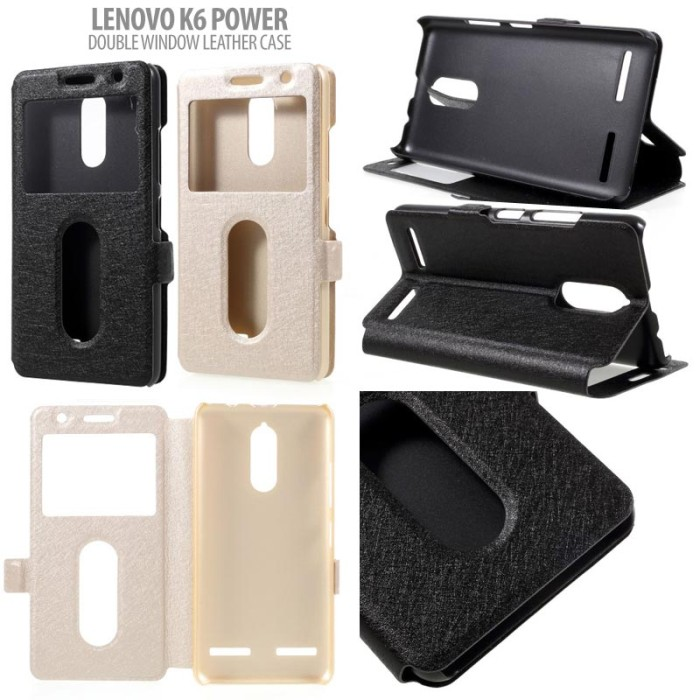 harga Double window leather case lenovo k6 power standing flip book cover Tokopedia.com