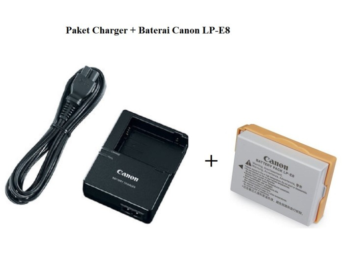 Paket Charger + Baterai LP-E8 Canon EOS 550D, 600D, 650D. 700D