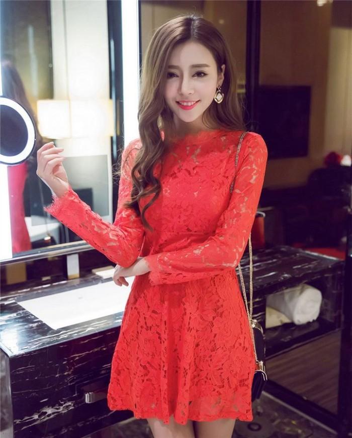 KLW - Mini Dress Pesta Full Lace Lengan Panjang Hitam, Merah Polos IMp