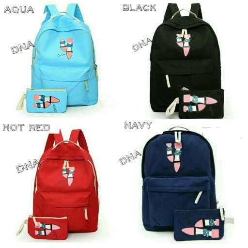 Foto Produk tas sekolah wanita murah backpack flatshoes 2in1 grosir tas punggung dari Then4Shop