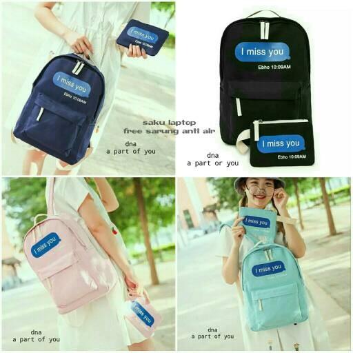 Foto Produk tas sekolah wanita murah backpack i miss u 2in1 grosir tas ransel dari Then4Shop