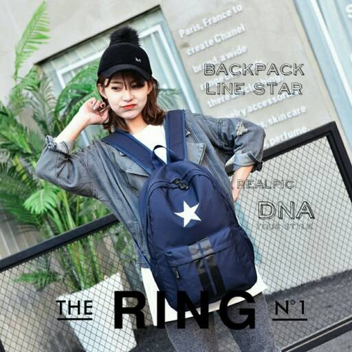 Foto Produk tas sekolah wanita murah backpack line star grosir tas ransel dari Then4Shop