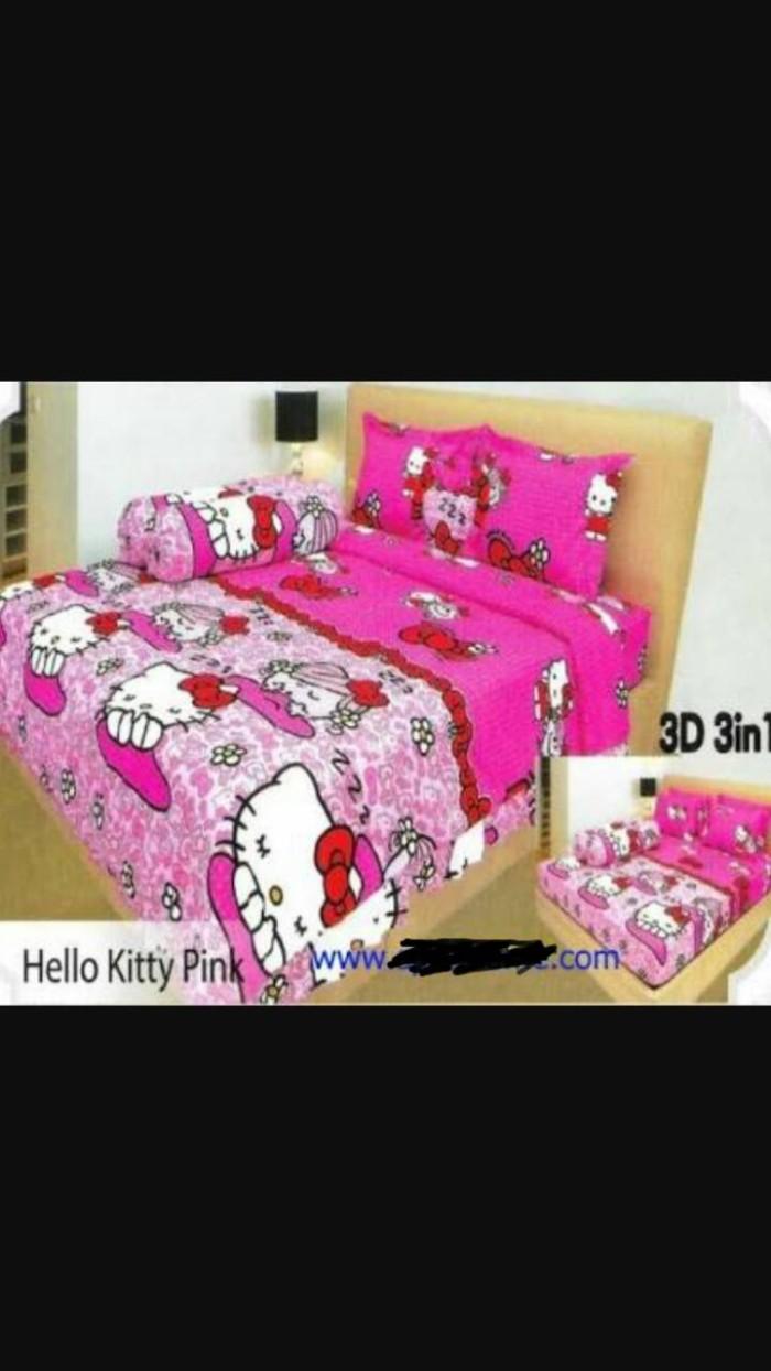 Jual Bed Cover Set Lady Rose Hello Kitty Pink 3D 3in1 UK 180x200 Jakarta Utara TRISYAGALERY