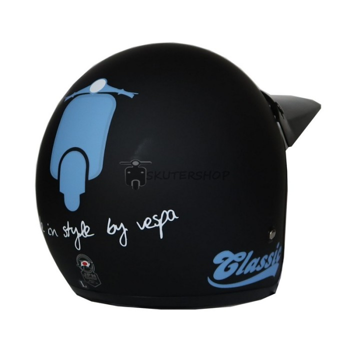 Helm Bogo JPN Vespa Classic Biru Dasaran Hitam Doff + Pet Panjang 4