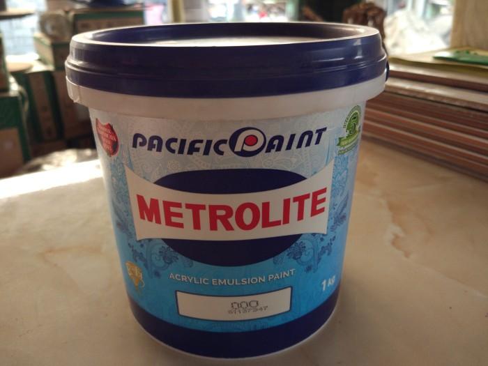 harga Cat tembok metrolite 1 kg kaleng mini / kecil putih kebiru - biruan Tokopedia.com