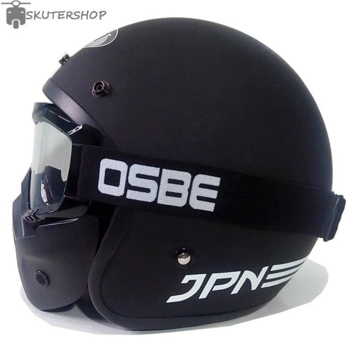 Helm jpn arc hitam doff plus osbe goggle mask clear