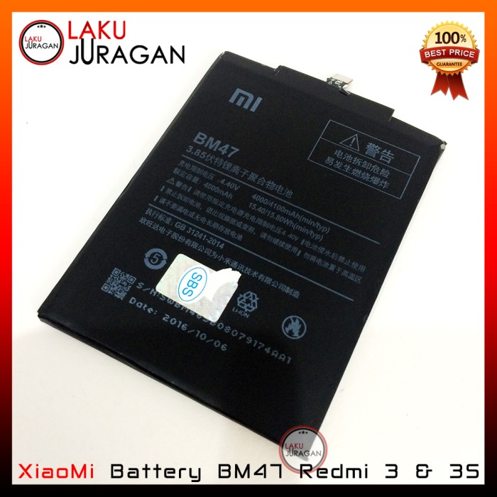 harga Baterai xiaomi redmi 3 & 3s bm47 original (handphone batre oem) Tokopedia.com
