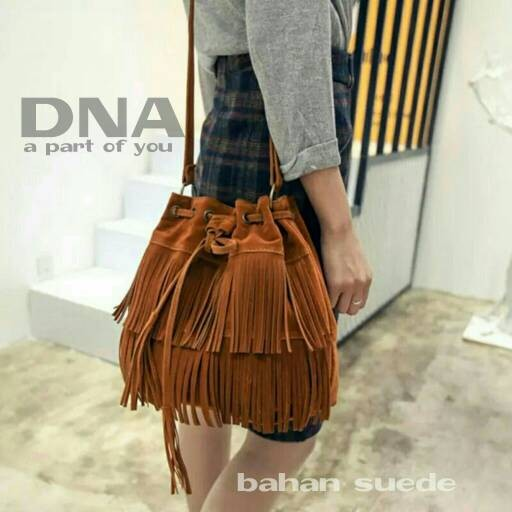 Foto Produk tas fashion wanita murah slingbag serut rumbai grosir tas selempang dari Then4Shop