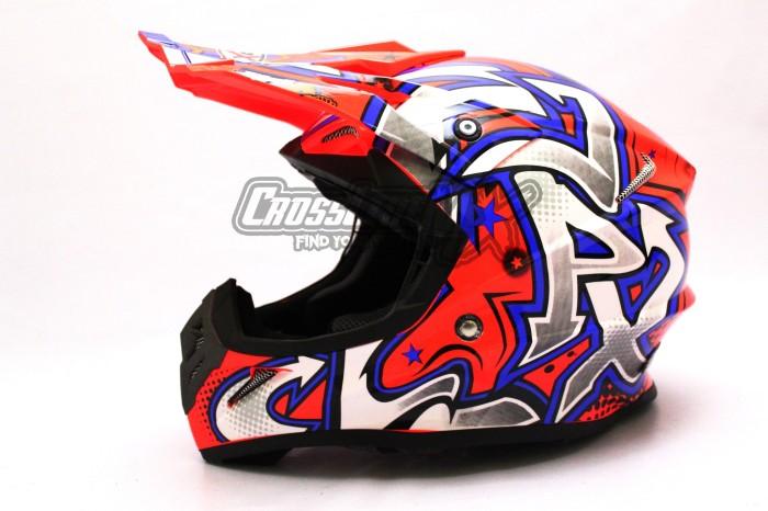 HELM CROSS JPX MODEL AIROH MOTOCROSS RED BLUE WHITE 2