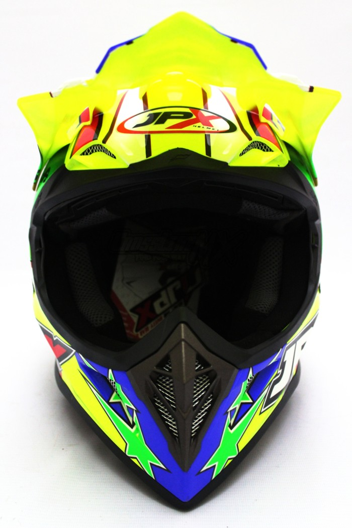 HELM CROSS JPX MODEL AIROH MOTOCROSS YELLOW GREEN RED 1