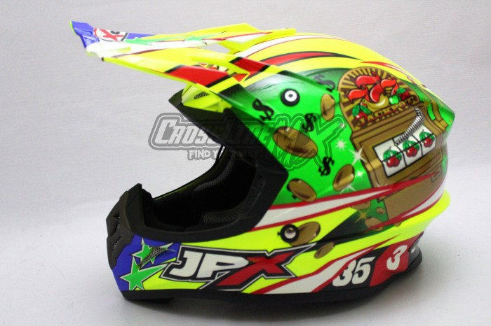 HELM CROSS JPX MODEL AIROH MOTOCROSS YELLOW GREEN RED 2