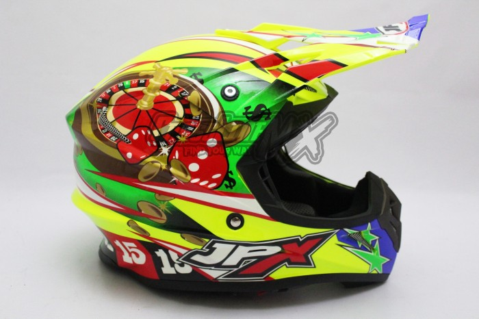 HELM CROSS JPX MODEL AIROH MOTOCROSS YELLOW GREEN RED 3