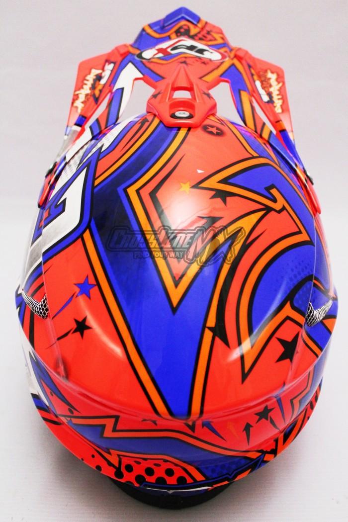 HELM CROSS JPX MODEL AIROH MOTOCROSS RED BLUE WHITE 4