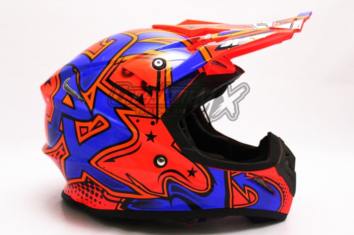 HELM CROSS JPX MODEL AIROH MOTOCROSS RED BLUE WHITE 3