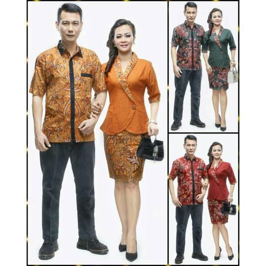 Jual Setelan Rok Blus Batik Couple Trosa Daun Kombinasi Embos Kota Surakarta Pusat Seragam Batik Tokopedia
