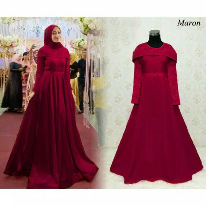 Gaun Pesta Warna Merah Fanta