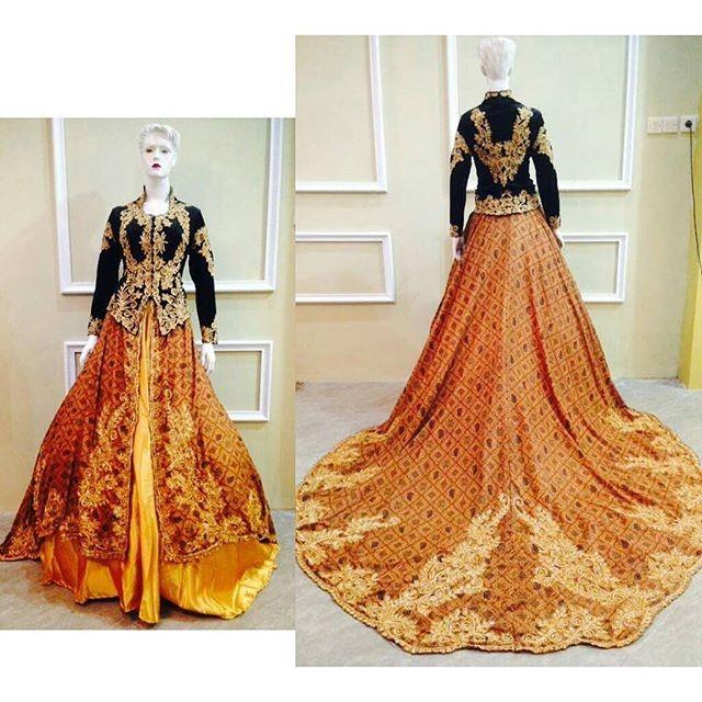 Jual Gaun Kebaya Modern Muslim Bludru Ekor Batik Murah Cantik Kota