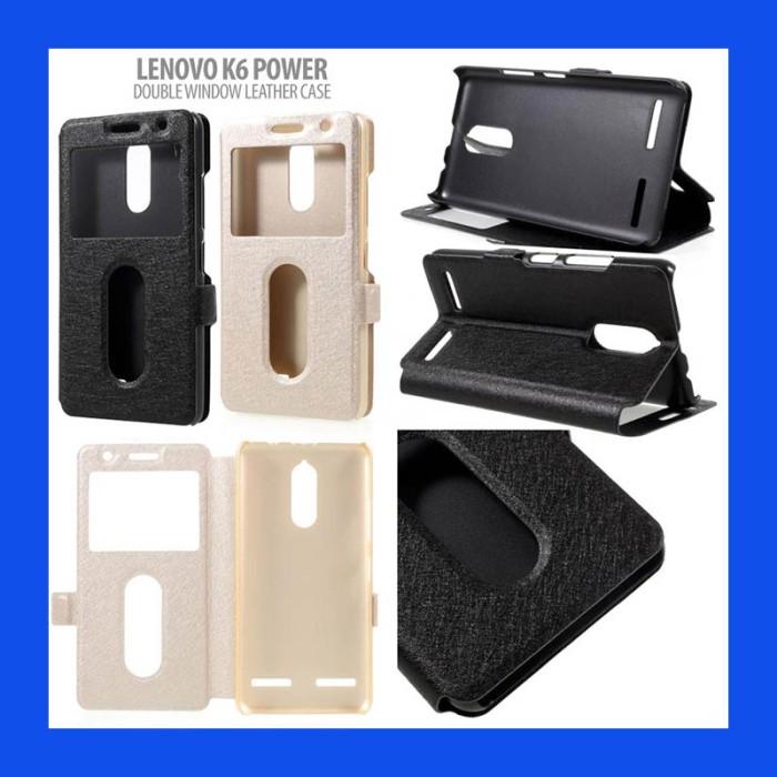 harga Lenovo k6 power double window leather case casing cover Tokopedia.com