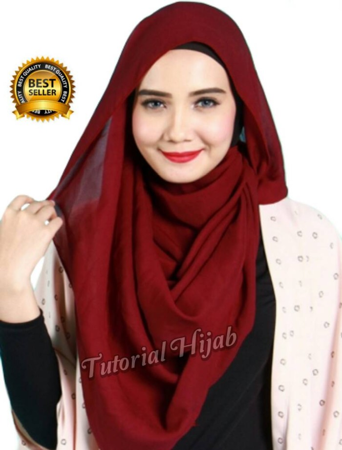 Jual Pashmina Cerruti Polos Asli Bukan Sifon Kota Tangerang Selatan Tutorial Hijab Tokopedia