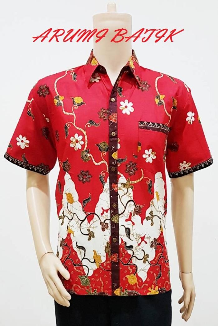 Kemeja / hem / atasan / baju / seragam pria batik 1936 merah big size