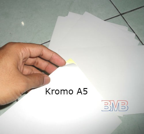 Foto Produk Sticker Kromo A5 Polos Glossy Mengkilat (setengah ukuran Stiker A4) dari belimasbro(dot)com