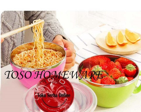 Large korea noodle bowl air tight mangkok kedap udara mangkuk pegangan