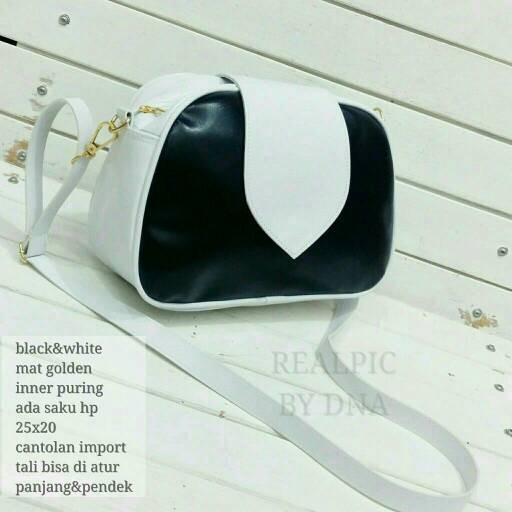 Foto Produk tas fashion wanita murah slingbag hitam putih grosir tas selempang dari Then4Shop