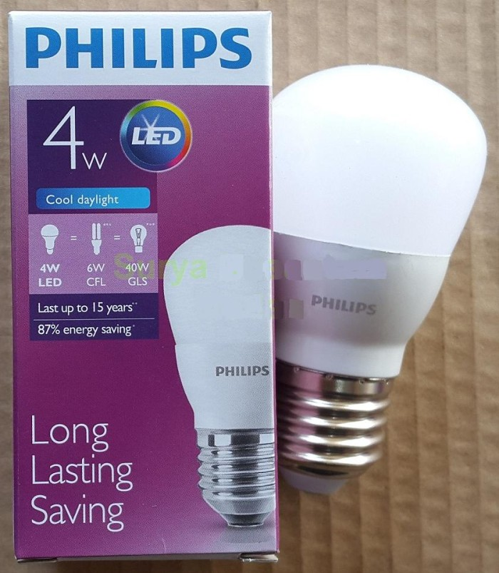 Lampu led philips 4 watt bohlam 4w philip putih 4 w bulb led 4watt ...