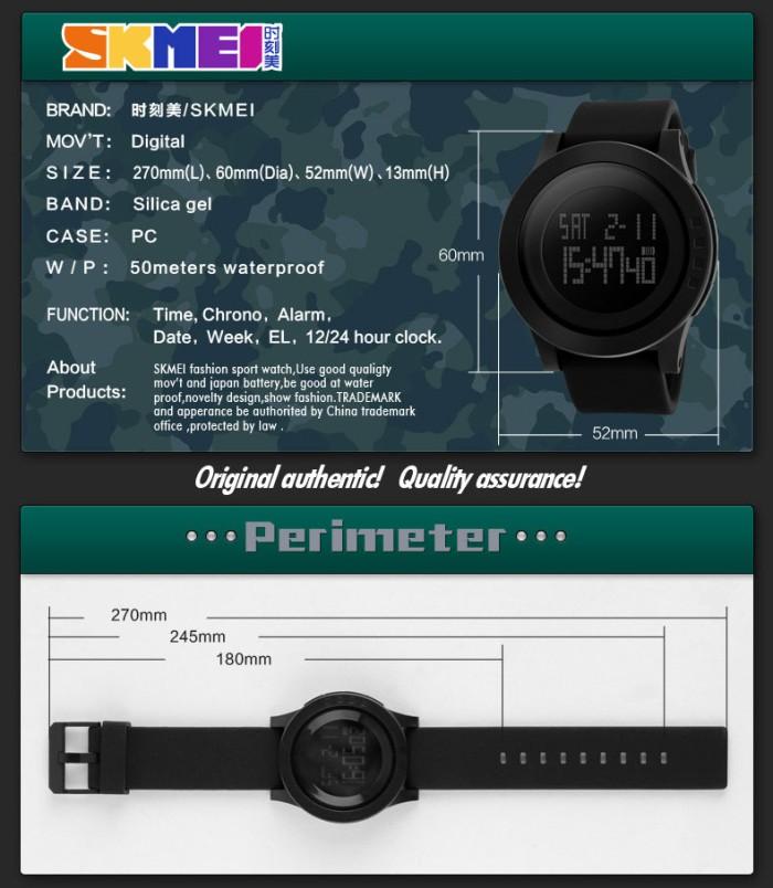 Jual Jam Tangan Pria SKMEI 1142 Original Water Resistant 50M - Black ... 23b69ce0c8