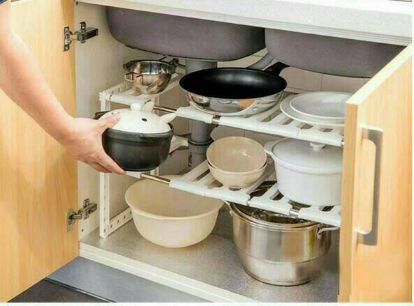Kitchen Rack Portable Stainless Rak Dapur Serbaguna 2 Susun