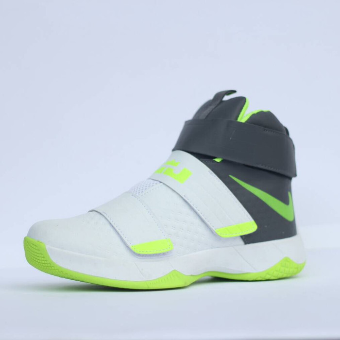 new style 44030 a81c9 NIKE LEBRON ZOOM SOLDIER 10 WHITE GREEN GREY