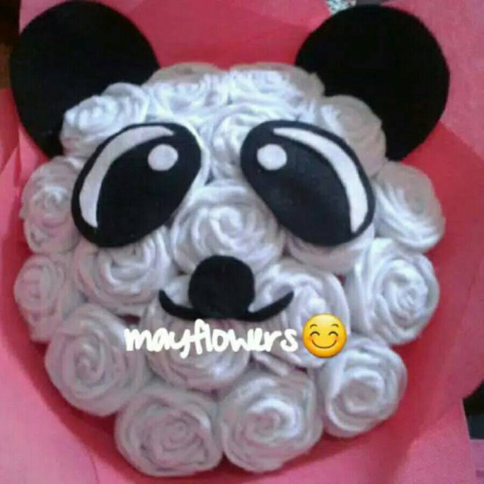 Jual Buket Bunga Mawar Panda Buket Bunga Mawar Flanel Karakter