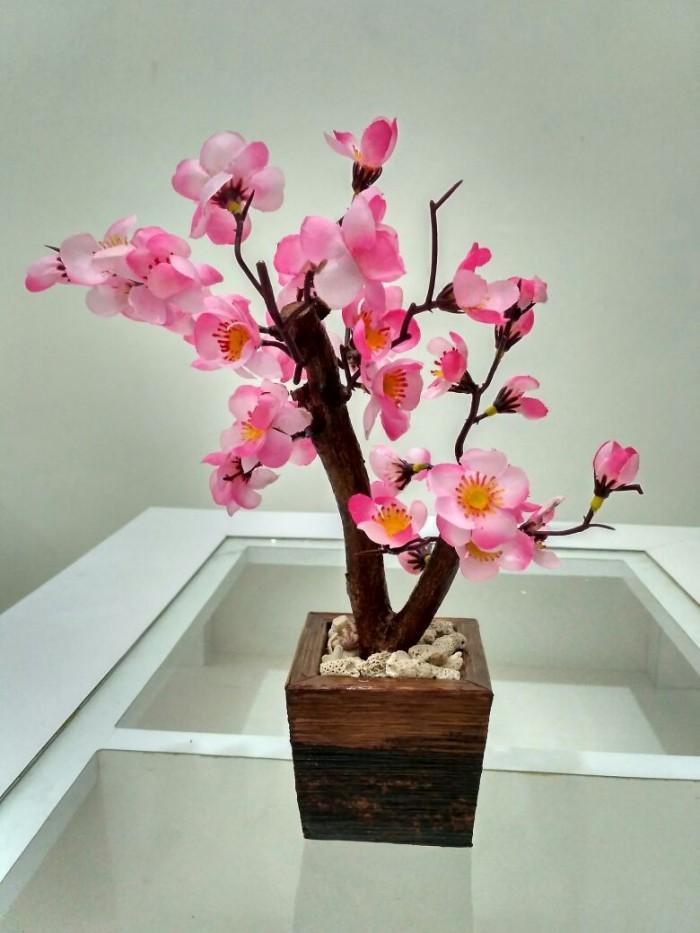 Hiasan Meja Ruang Tamu Bunga Artificial Sakura Mini Pink