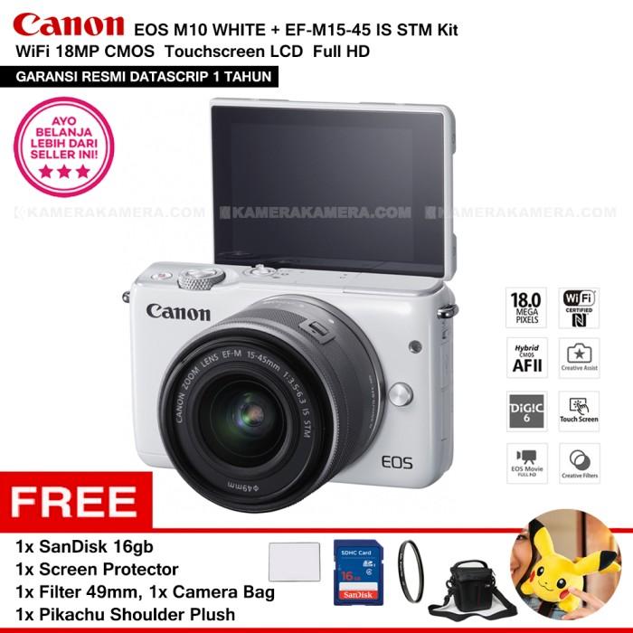 harga Canon Eos M10 White (resmi) + Ef-m15-45 Is Stm Paket 4 + Pokemon Plush Tokopedia.com