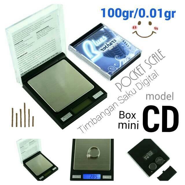 Pocket Scale 100x0.01gr Timbangan Saku Digital unik model Box Mini CD
