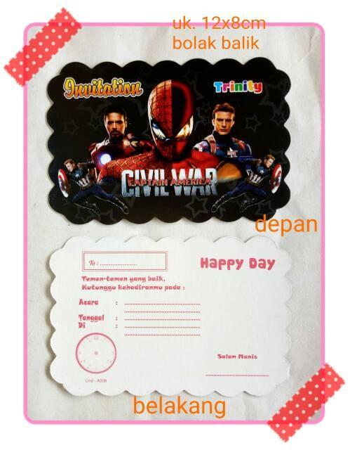 Foto Produk kartu undangan ulang tahun ultah anak karakter avenger avengers dari reanolshoop