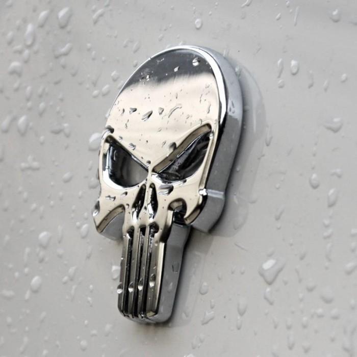 Emblem metal sticker punisher skull logo 3d chrome