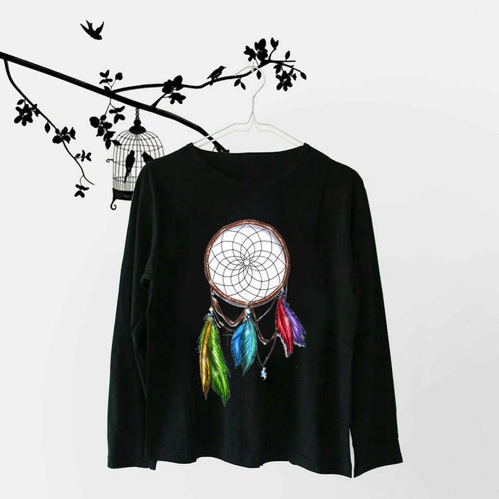 Foto Produk Tumblr Tee / T-Shirt / Kaos Wanita Lengan Panjang Dreamcatcher Hitam dari Ellipses.inc