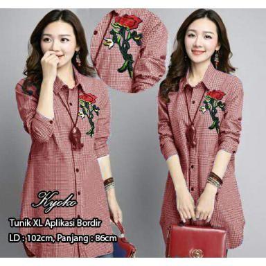 harga 1814 baju tunik kemeja lengan panjang kotak kecil maroon murah blouse Tokopedia.com