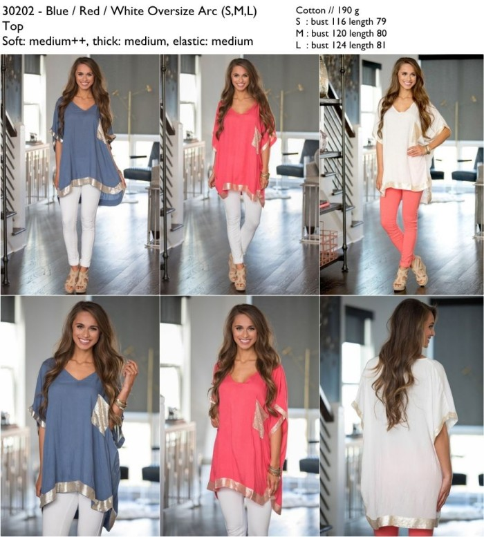 Foto Produk 30202 Oversize Arc Blouse / Blouse Jumbo Biru Putih Pink dari XineShop