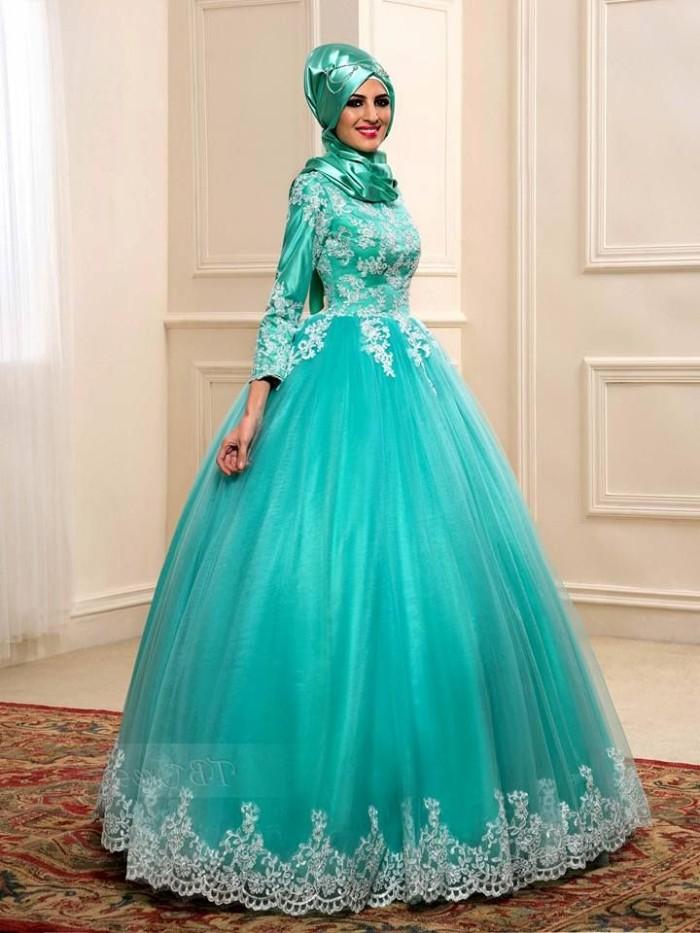 Jual 1612022 Gaun Pengantin Muslim Biru Tosca Wedding Gown Dress