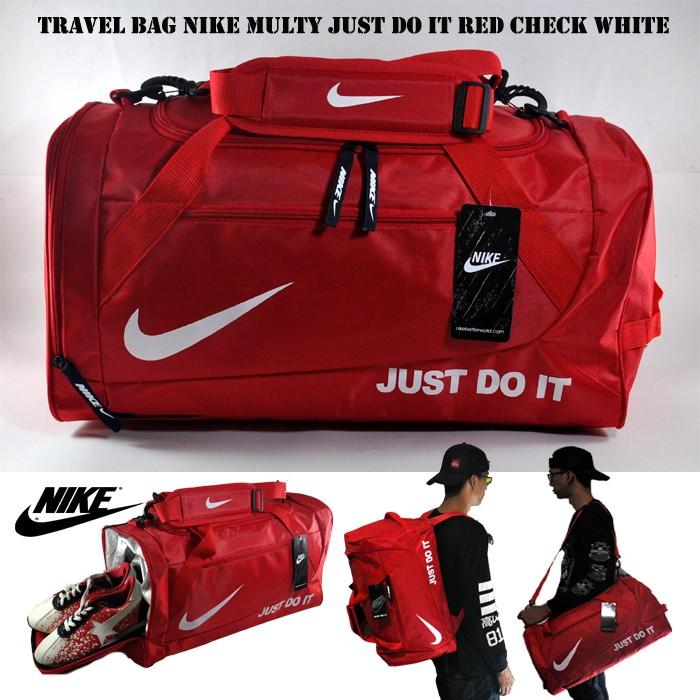 harga Tas travel / tas gym / tas olahraga nike just do it merah check putih Tokopedia.com