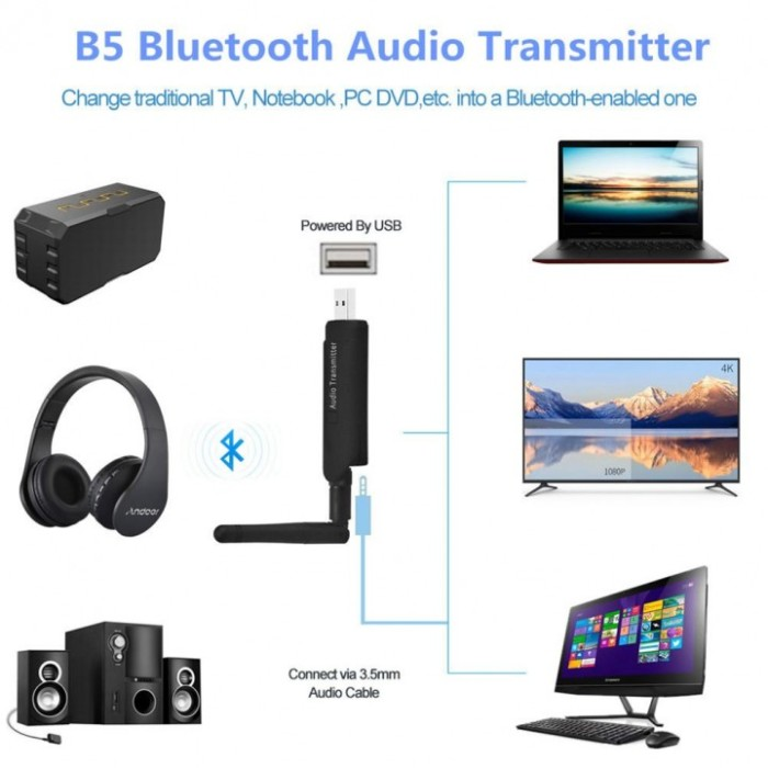 harga B5 wireless audio transmitter bluetooth 3.5mm stereo music adapter Tokopedia.com
