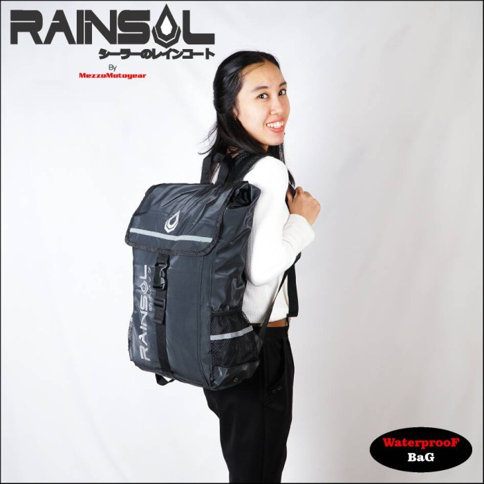 Foto Produk Rainsol Waterproof Bag (Backpack) full black / Drybag / Tas tahan air dari herman-shop