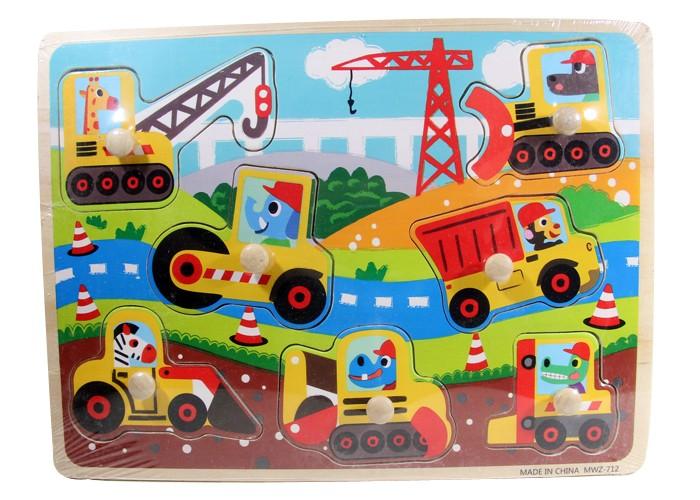 Foto Produk Puzzle Kayu Pin Knob Knop Alat Berat Mainan Edukasi Anak PP-028 dari Kid Smart