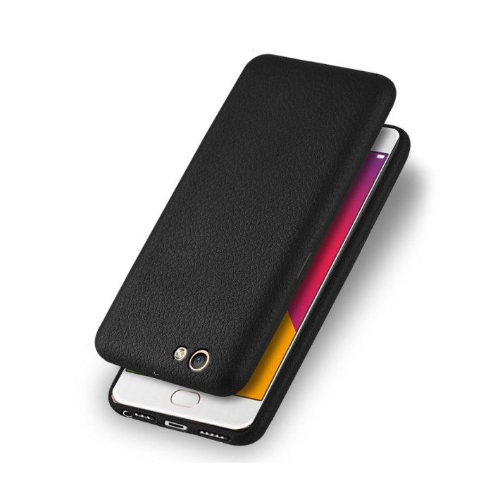 Oppo f1s backcase leather texture alivo back cover softcase leather