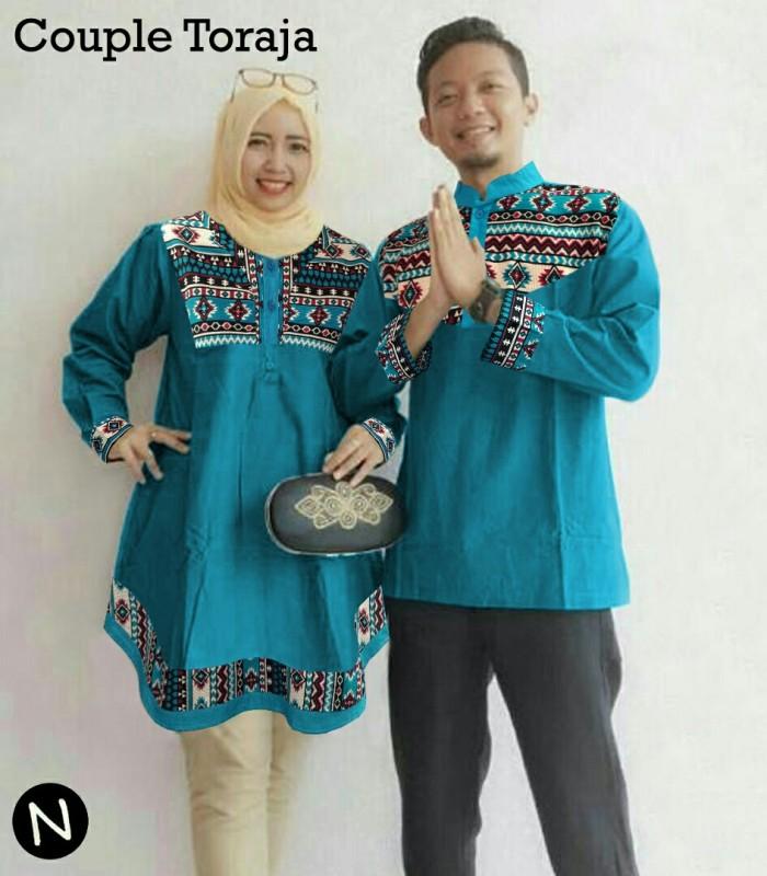 harga Couple tunik blouse muslim toska + koko tasmatas bordir Tokopedia.com