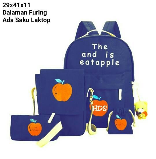 Foto Produk tas sekolah wanita murah backpack apel 4in1 grosir tas ransel dari Then4Shop