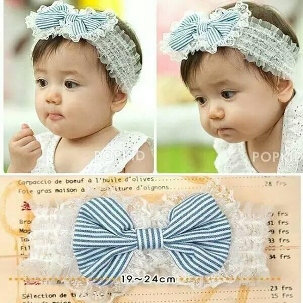 Bandana bayi import #lovely bow striped